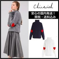 Chicwish Heart Casual Style Long Sleeves Plain High-Neck Sweaters