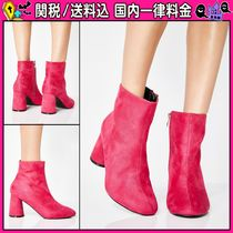 DOLLS KILL Round Toe Casual Style Faux Fur Plain Block Heels