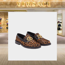VERSACE Leopard Patterns Loafers Chain Leather Loafers & Slip-ons