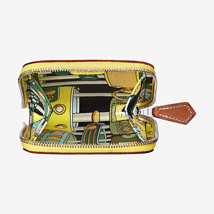 HERMES Coin Purses Tropical Patterns Blended Fabrics Plain Leather Coin Purses 16