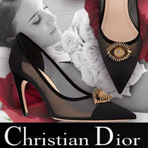 Christian Dior Suede Blended Fabrics Plain Pin Heels With Jewels