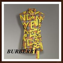 Burberry Other Check Patterns Sleeveless Street Style Cotton Medium