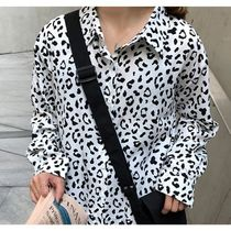 Leopard Patterns Casual Style V-Neck Long Sleeves Medium