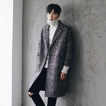 Other Check Patterns Street Style Long Chester Coats