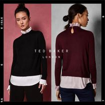TED BAKER Casual Style Cashmere Bi-color Long Sleeves Plain Medium