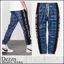 Dezzn Printed Pants Zigzag Unisex Street Style Patterned Pants