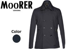 MOORER Short Wool Street Style Plain Peacoats Coats