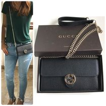 GUCCI Chain Plain Leather Long Wallets
