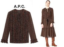 A.P.C. Silk Puffed Sleeves Elegant Style Shirts & Blouses