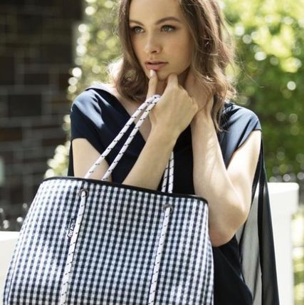 Gingham Casual Style Street Style Bag in Bag A4 Oversized