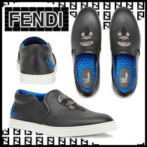FENDI KARLITO Street Style Plain Leather With Jewels Loafers & Slip-ons