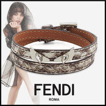 FENDI BAG BUGS Leather Elegant Style Bracelets