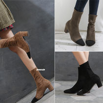 Square Toe Casual Style Suede Plain Block Heels