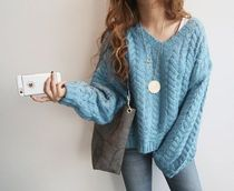 Cable Knit Casual Style V-Neck Long Sleeves Plain Cotton
