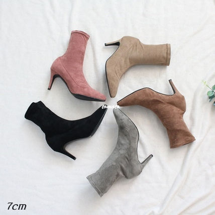 Ankle & Booties Casual Style Suede Plain Pin Heels Ankle & Booties Boots
