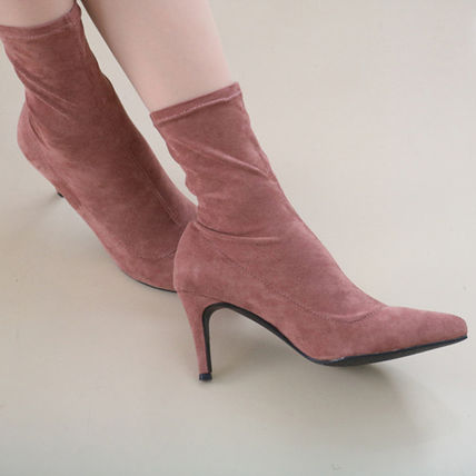 Ankle & Booties Casual Style Suede Plain Pin Heels Ankle & Booties Boots 2