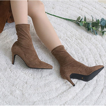 Ankle & Booties Casual Style Suede Plain Pin Heels Ankle & Booties Boots 6