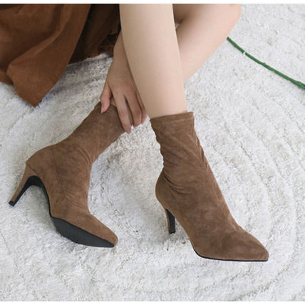 Ankle & Booties Casual Style Suede Plain Pin Heels Ankle & Booties Boots 7