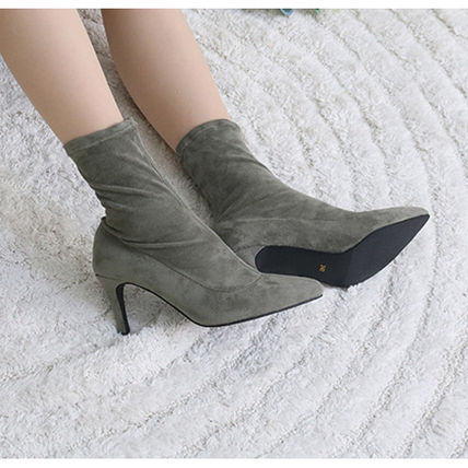 Ankle & Booties Casual Style Suede Plain Pin Heels Ankle & Booties Boots 8