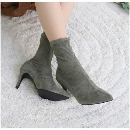 Ankle & Booties Casual Style Suede Plain Pin Heels Ankle & Booties Boots 9