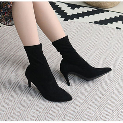 Ankle & Booties Casual Style Suede Plain Pin Heels Ankle & Booties Boots 10