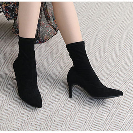 Ankle & Booties Casual Style Suede Plain Pin Heels Ankle & Booties Boots 11