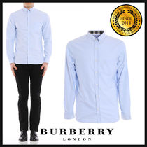 Burberry Button-down Long Sleeves Plain Cotton Shirts