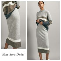 Massimo Dutti Stripes Casual Style Wool Medium Midi Skirts