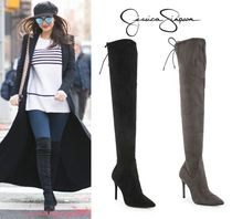 Jessica Simpson Faux Fur Plain Pin Heels Elegant Style Over-the-Knee Boots