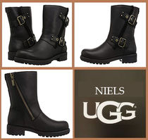 UGG Australia Plain Toe Rubber Sole Casual Style Plain Leather Flat Boots