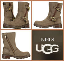 UGG Australia Plain Toe Rubber Sole Casual Style Suede Plain Flat Boots