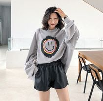 Short Casual Style Faux Fur Street Style Plain Oversized