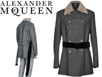 alexander mcqueen Glen Patterns Zigzag Blended Fabrics Street Style Leather