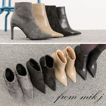 Faux Fur Plain Pin Heels Party Style Ankle & Booties Boots