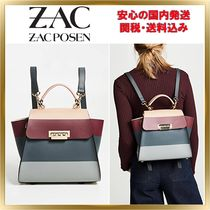 ZAC ZAC POSEN Stripes 2WAY Leather Elegant Style Backpacks