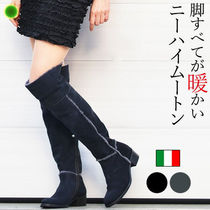 Objects in Mirror Fur Plain Block Heels Elegant Style Over-the-Knee Boots