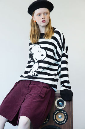 Crew Neck Pullovers Stripes Unisex Street Style Long Sleeves