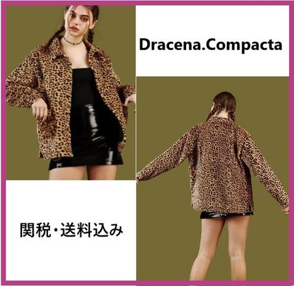 Short Leopard Patterns Casual Style Fur Jackets