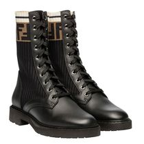 FENDI Stripes Monoglam Leather Boots Boots