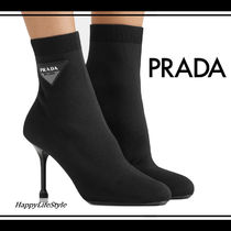 PRADA Round Toe Casual Style Plain Pin Heels Ankle & Booties Boots
