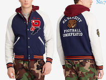 Ralph Lauren Short Street Style Bi-color Fleece Jackets Varsity Jackets