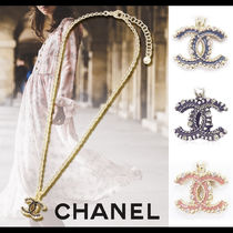 CHANEL Costume Jewelry Casual Style Studded Chain