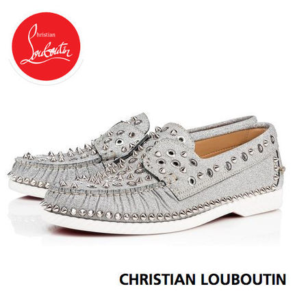 0168d7d90b1c ... Christian Louboutin Loafers   Slip-ons Studded Street Style Plain  Leather Deck Shoes ...