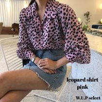 Leopard Patterns Casual Style Puffed Sleeves Medium