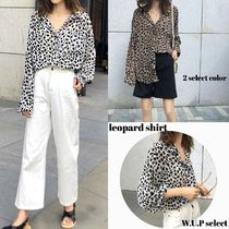 Leopard Patterns Casual Style Long Sleeves Long Oversized