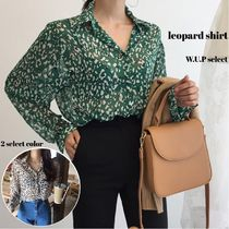 Leopard Patterns Casual Style Medium Shirts & Blouses