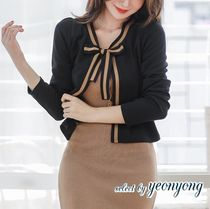 Long Sleeves Plain Medium Office Style Cardigans