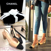 CHANEL Blended Fabrics Plain Leather Block Heels Elegant Style