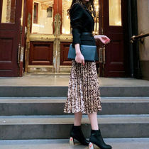 Leopard Patterns Casual Style Pleated Skirts Medium