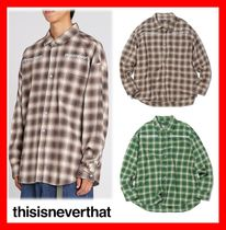 thisisneverthat Casual Style Unisex Street Style Long Sleeves Cotton